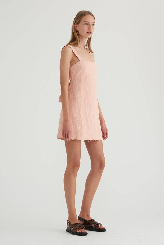 Double Knot Tie Back Dress - Blush