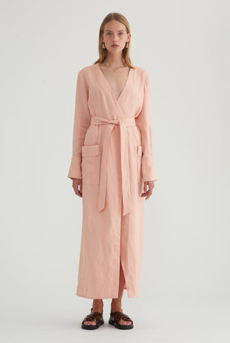Long Sleeve Robe Dress - Blush