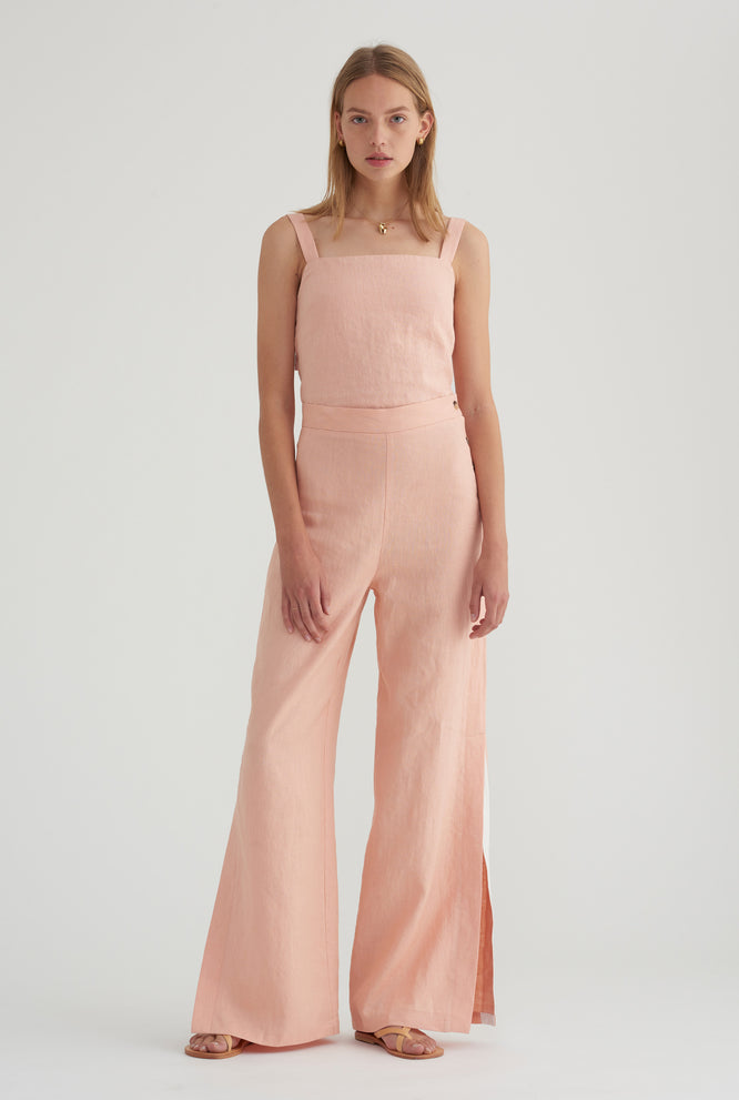 Double Knot Tie Back Top - Blush