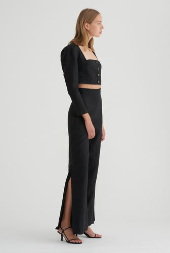 Side Button Pant - Black