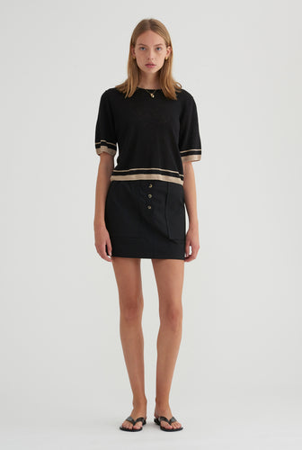 Cotton Twill Mini Skirt - Black