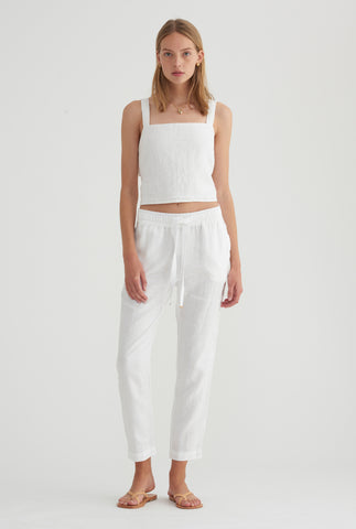 Double Knot Tie Back Top - White