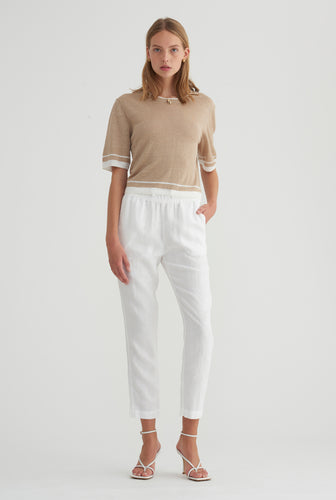 Cropped Knitted T-Shirt - Taupe
