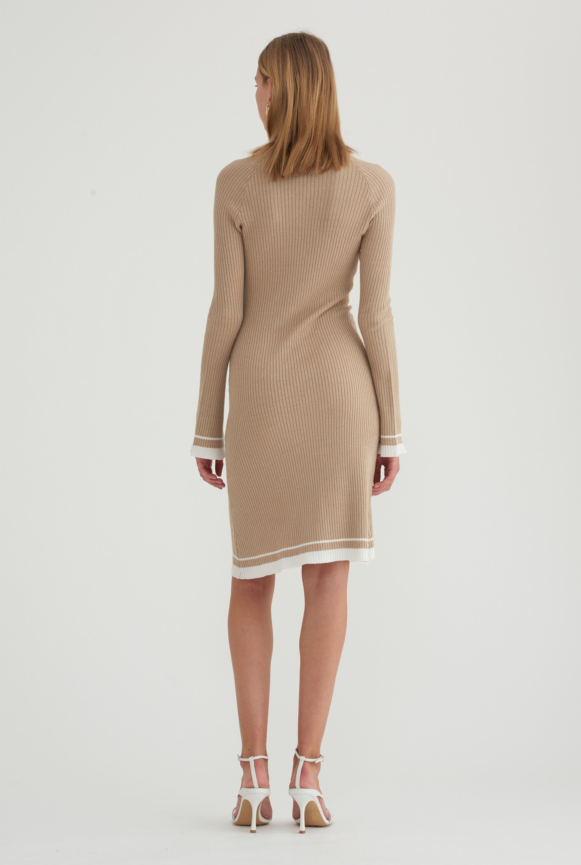 Long Sleeve Knit Dress - Taupe