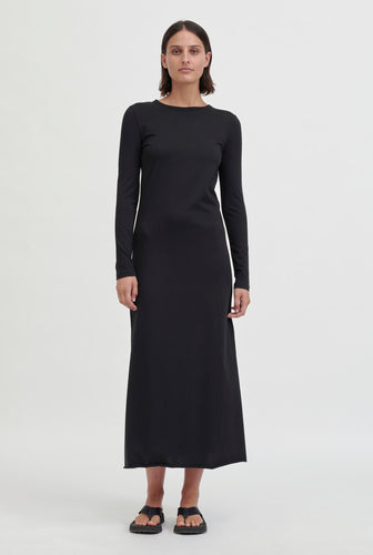 Tie Back Jersey Dress - Black