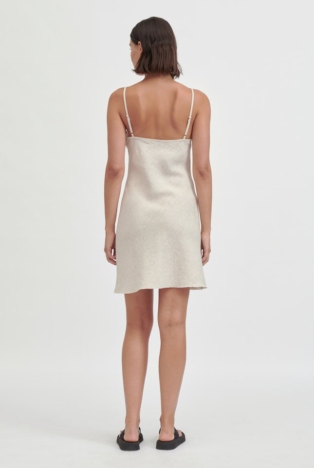 Mini Linen Bias Slip Dress - Sand