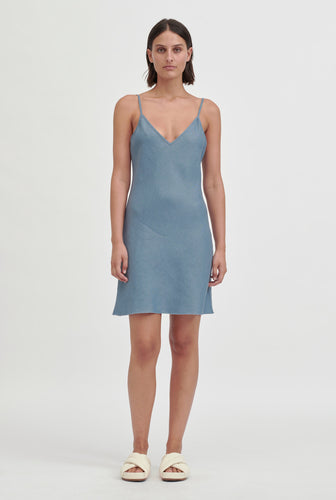 Mini Linen Bias Slip Dress - Ocean Blue