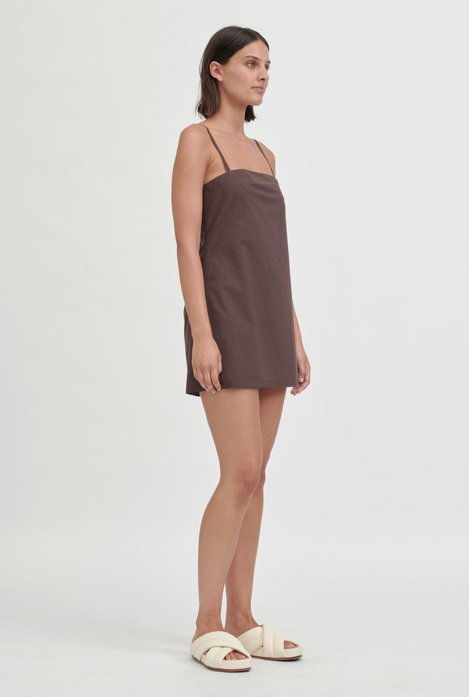 Tie Back Shift Dress - Cacao