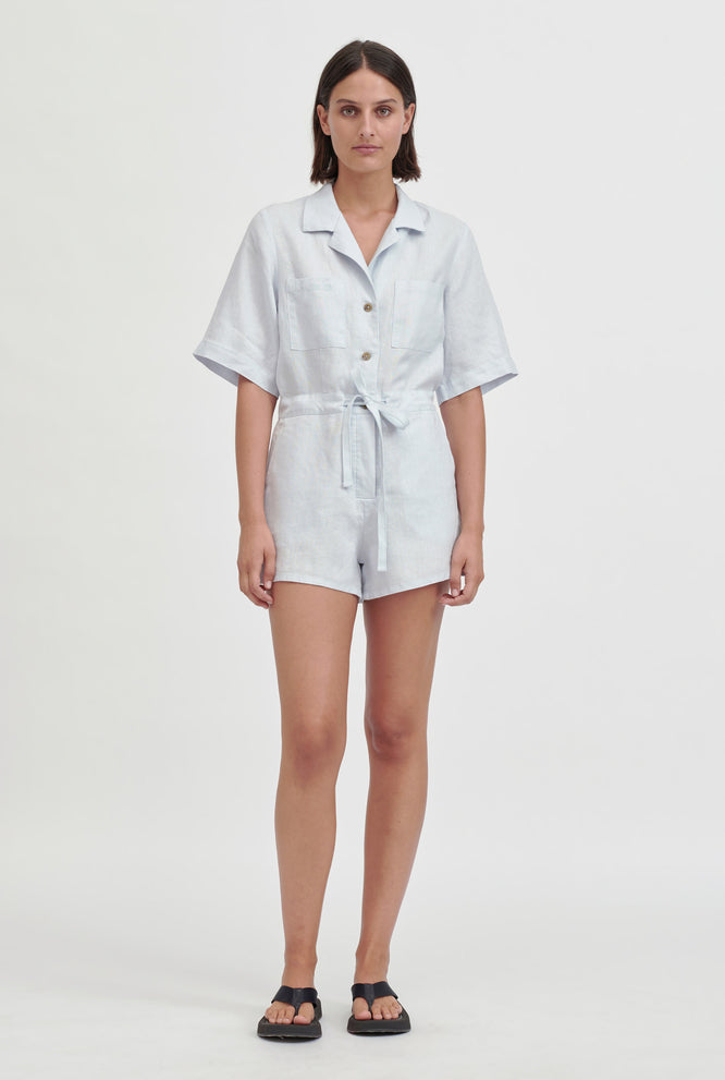 Camp Collar Playsuit - White