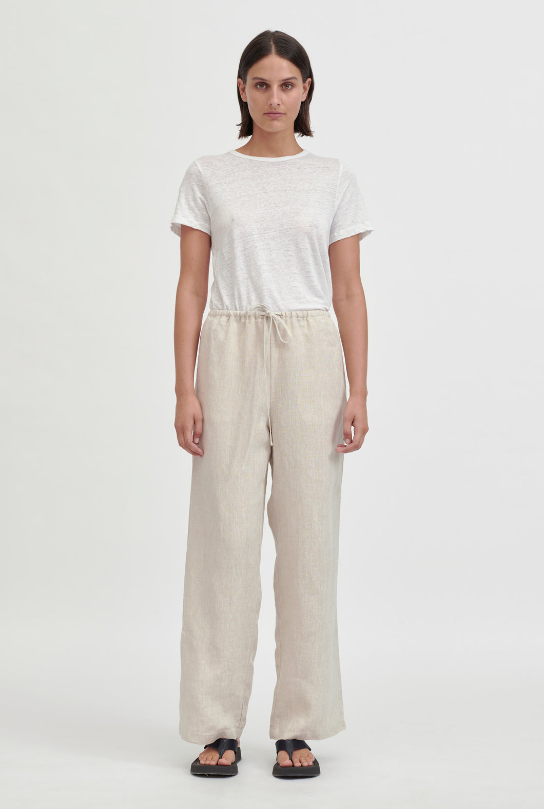 High Waisted Drawstring Pant - Sand