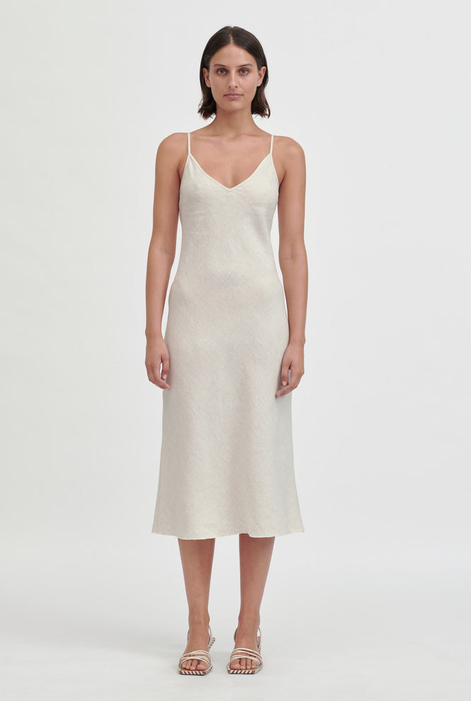 Linen Bias Slip Dress - Lemon