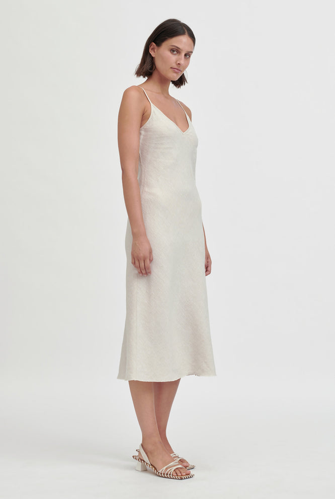 Linen Bias Slip Dress - Sand