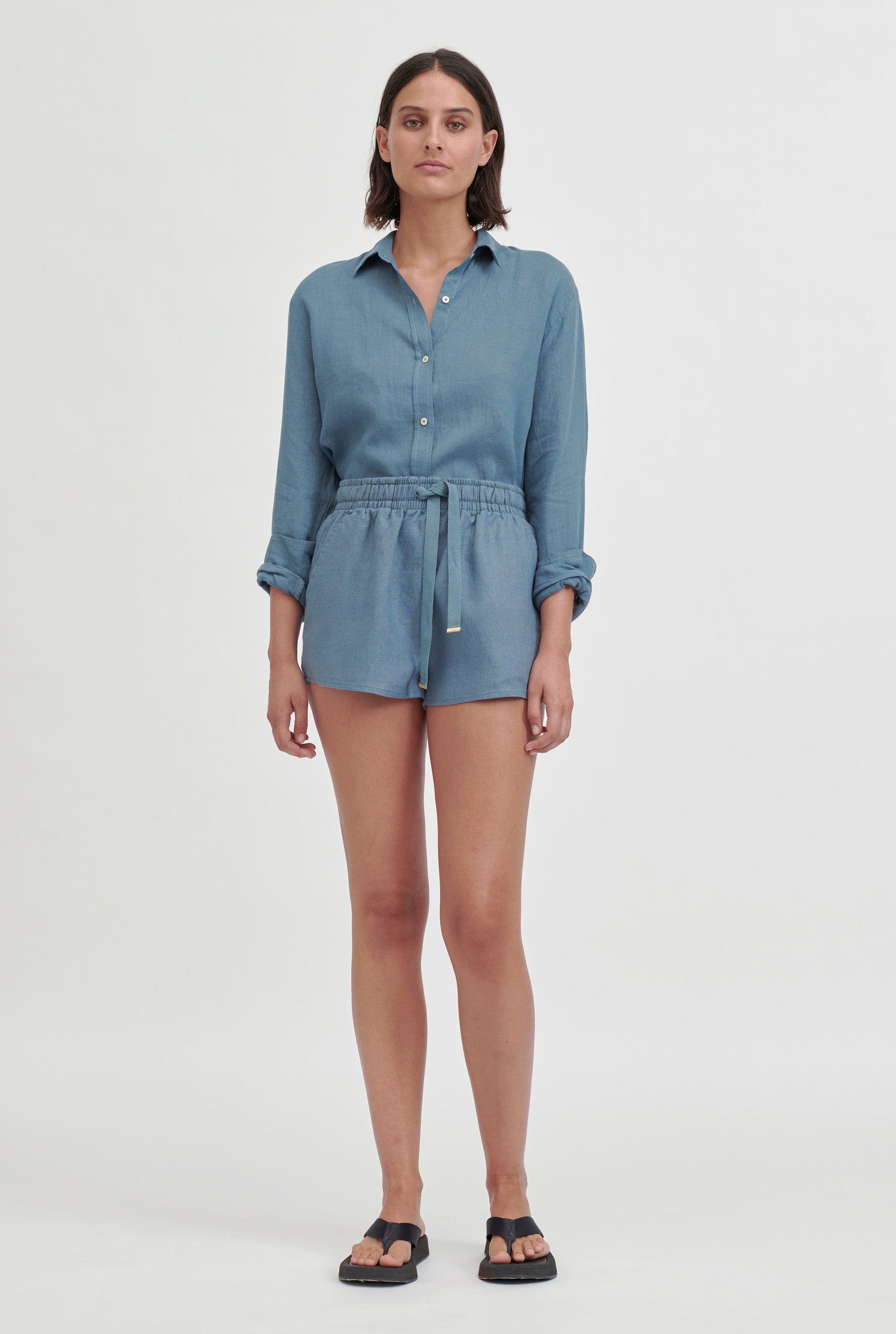 High Waisted Lounge Short - Ocean Blue