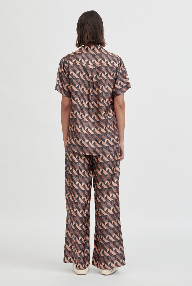 Silk Printed Camp Collar Shirt - Cacao Block Print