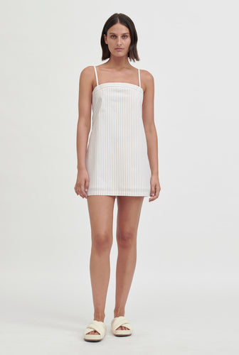 Tie Back Shift Dress - Taupe/White Stripe
