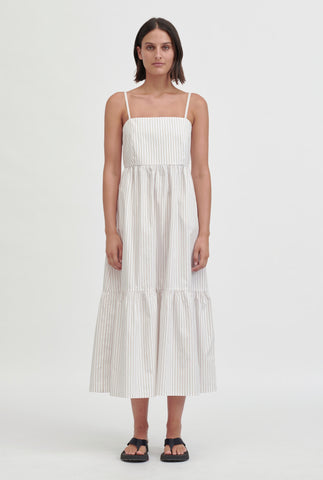 Tiered Poplin Dress - Taupe/White Stripe