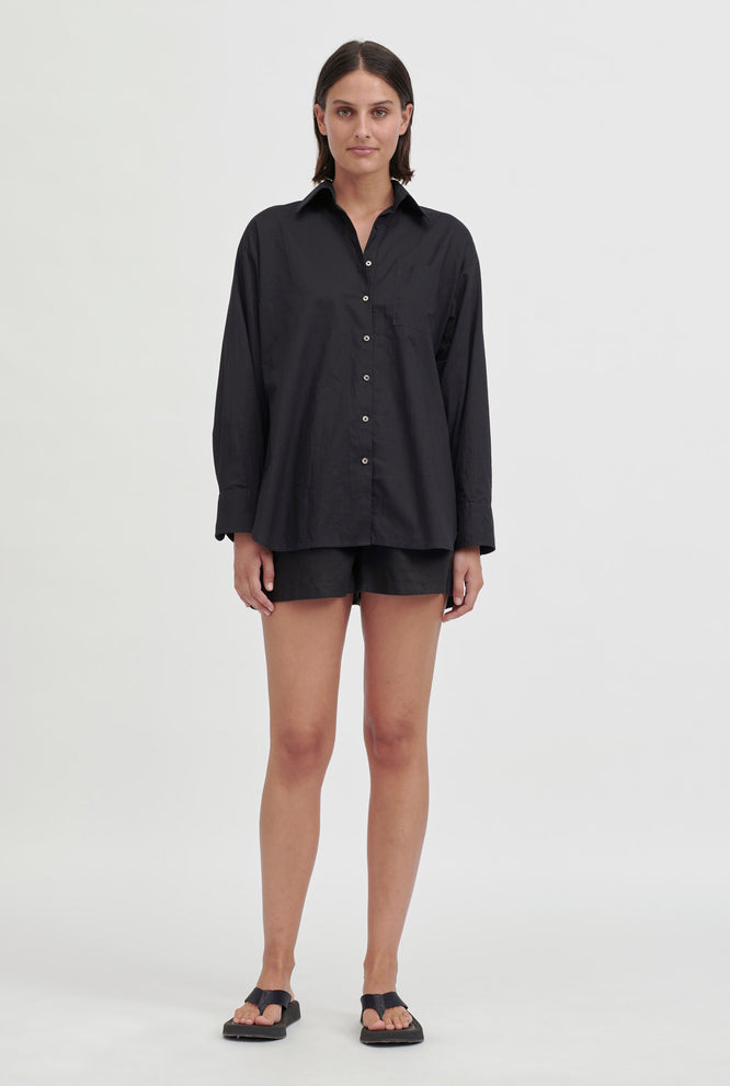 Oversized Voile Shirt - Navy