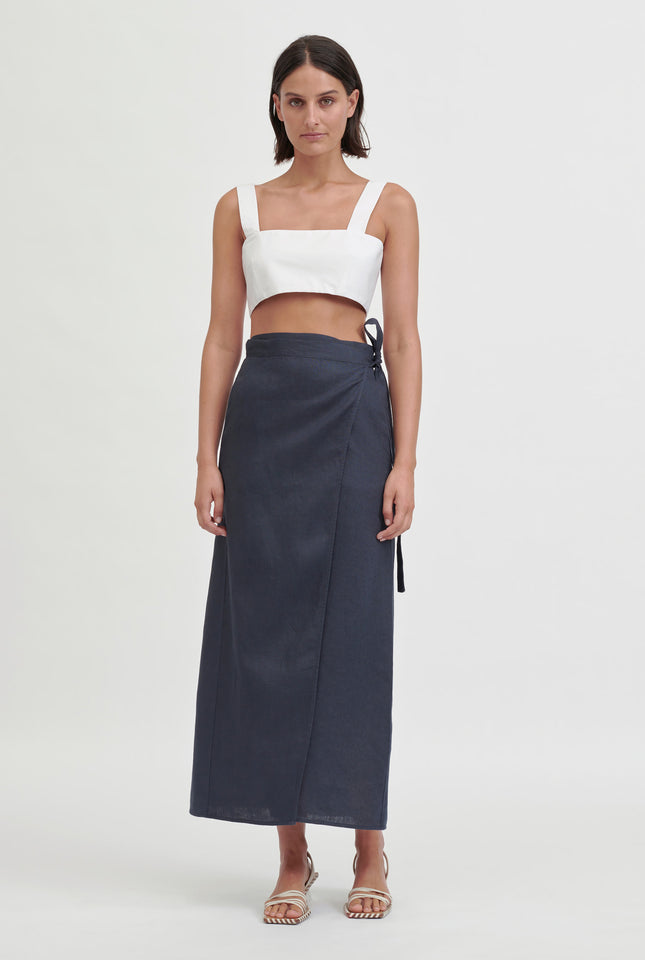 Long Wrap Skirt - Navy