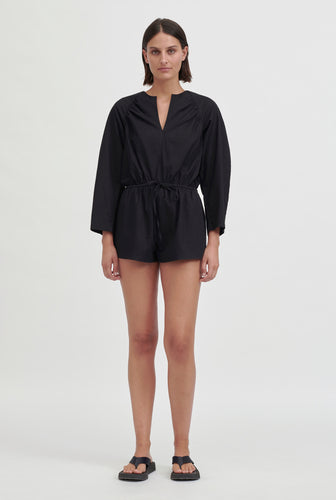 Gathered Playsuit - Black