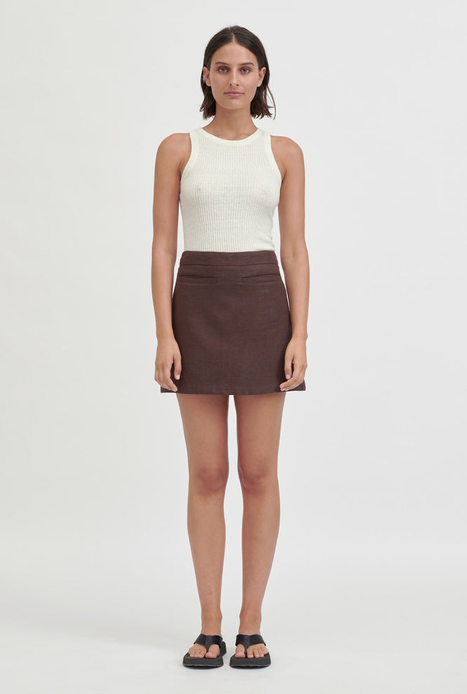 Fitted Mini Skirt - Sand