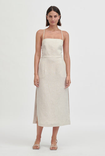 Apron Halter Dress - Sand