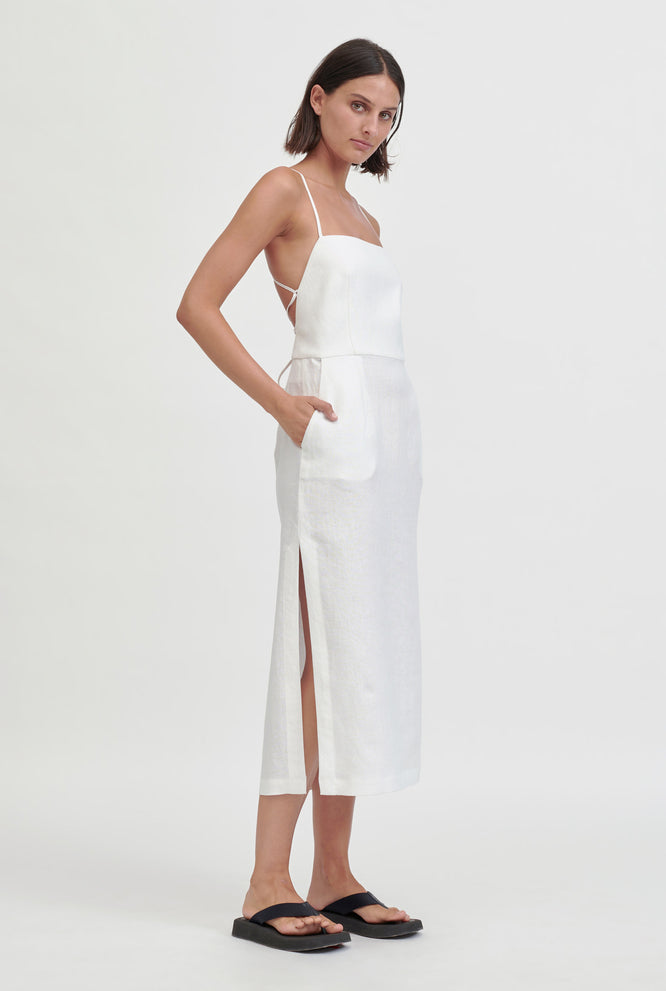 Apron Halter Dress - White