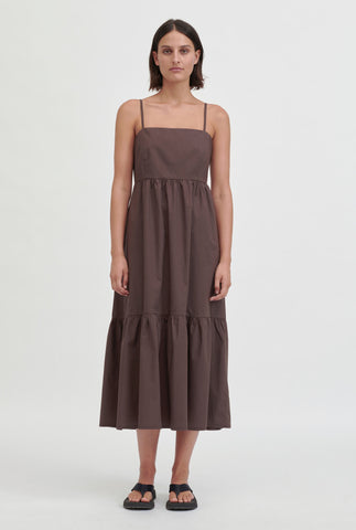 Tiered Poplin Dress - Cacao