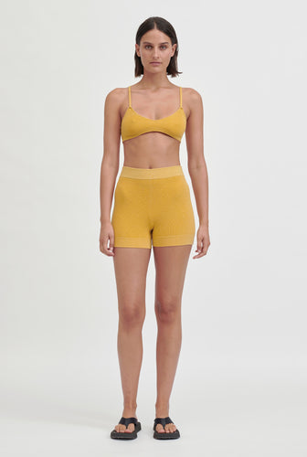 Knitted Bike Short - Mustard