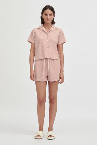 Terry Camp Collar Shirt - Dusty Peach