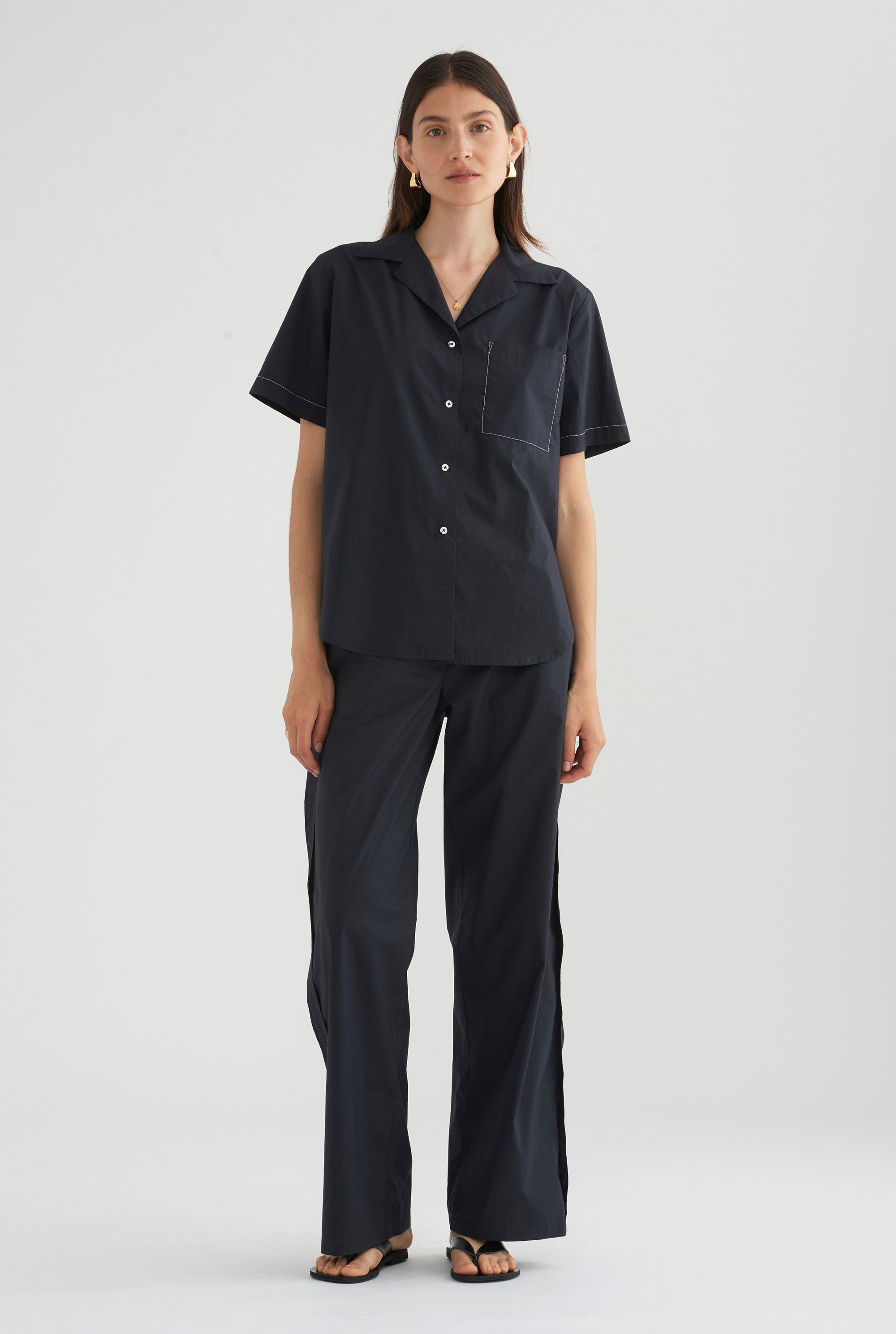 Paper Weight Poplin Pant - Navy