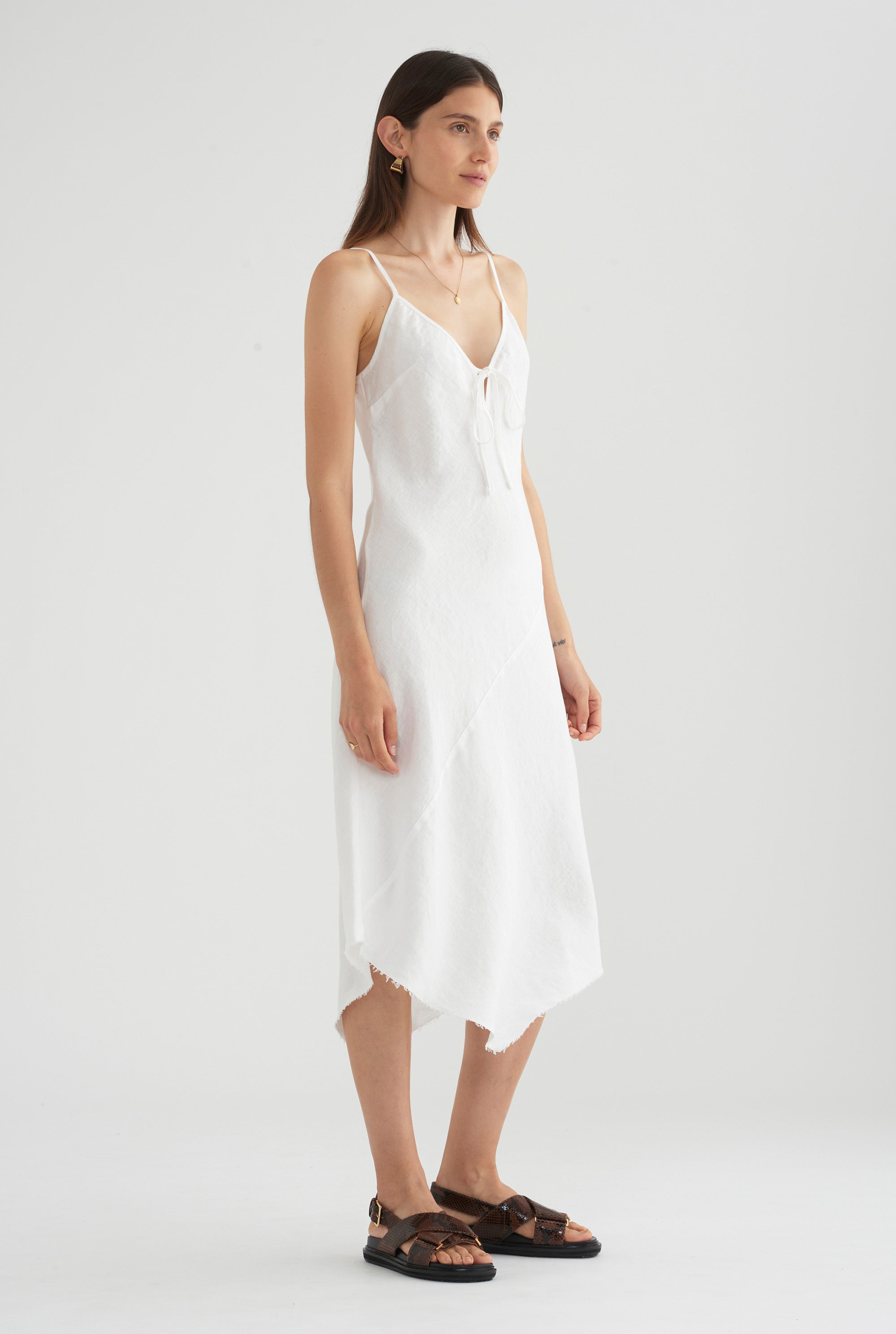 Bias Tie Front Dress - White