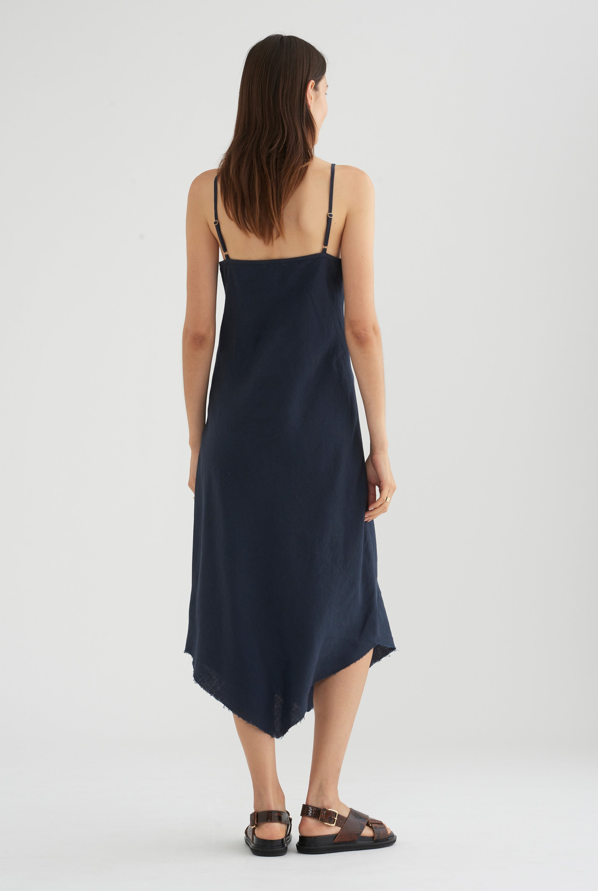Bias Tie Front Dress - Navy