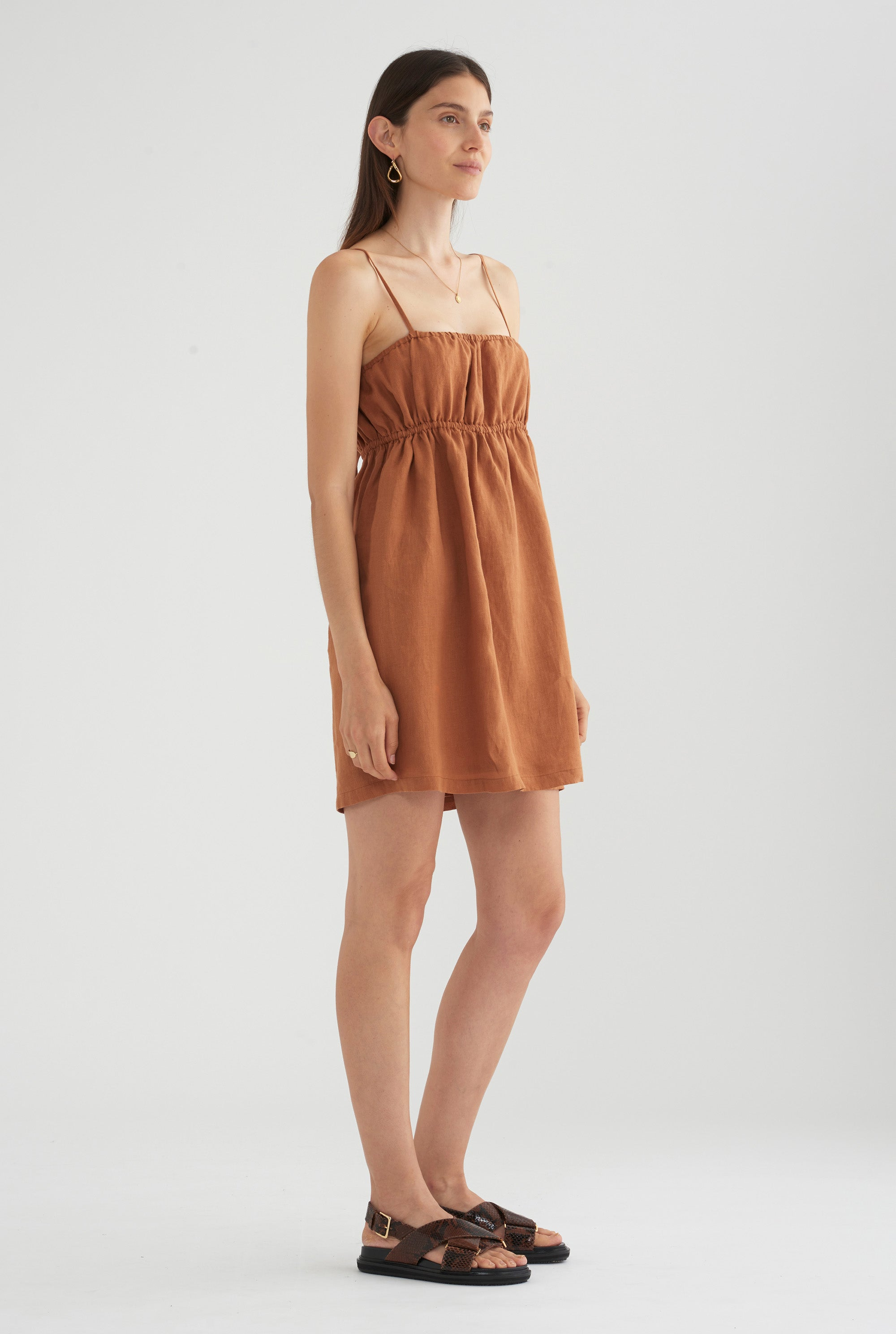 Gathered Lounge Dress - Copper