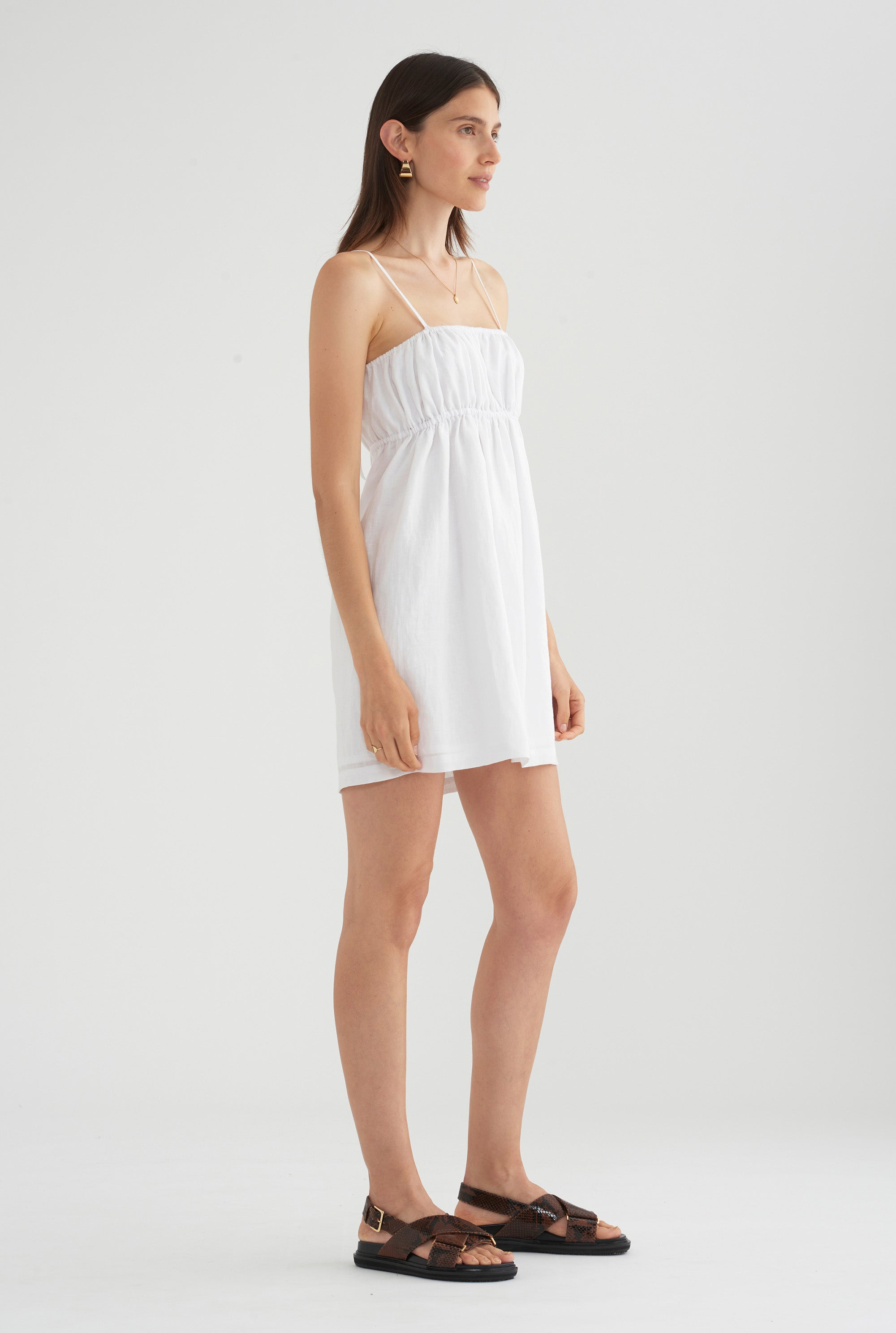 Gathered Lounge Dress - White