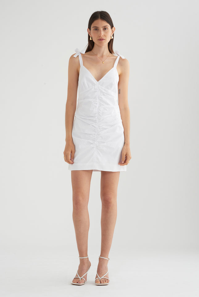Rouched Mini Dress - White