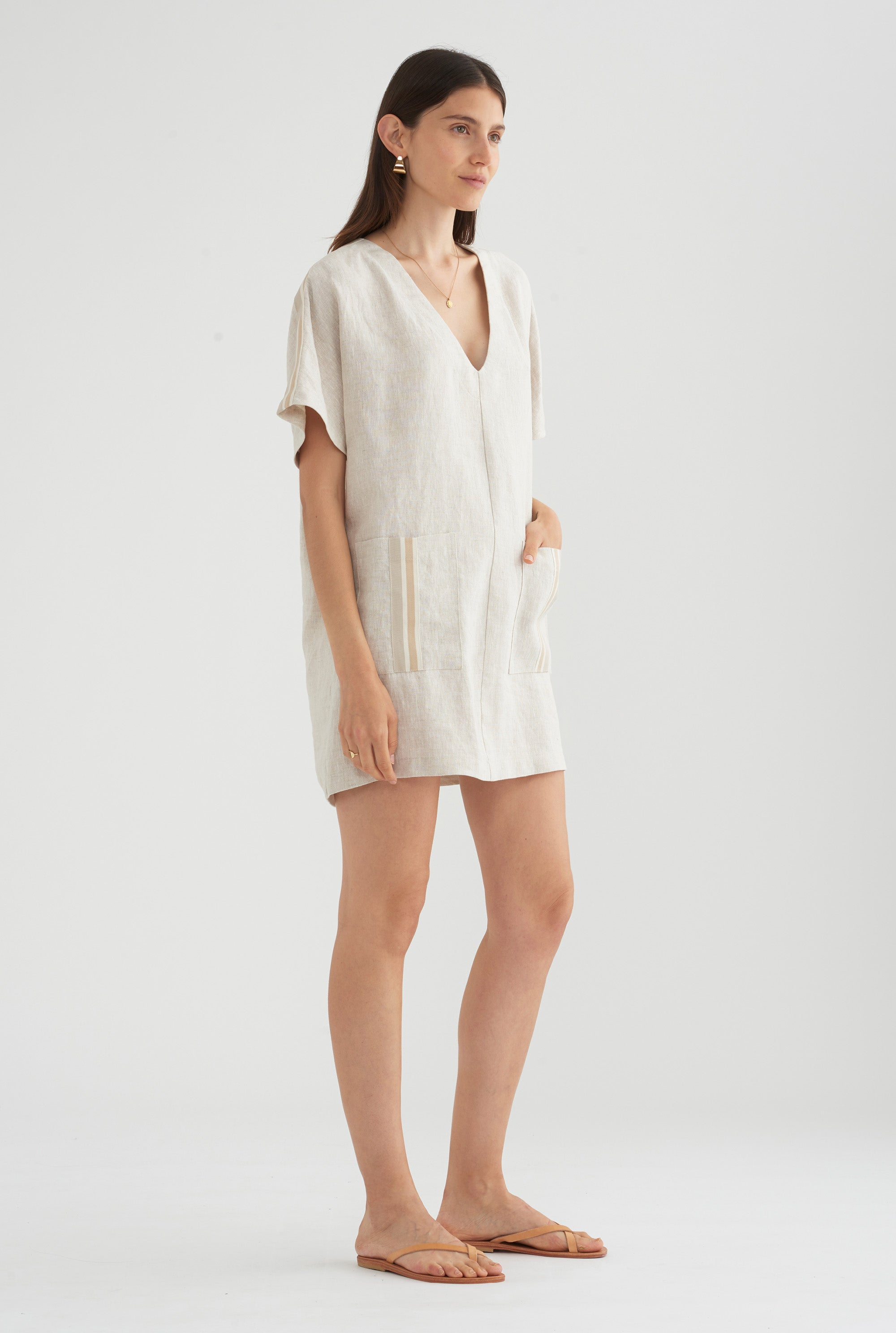 Linen Pop Over Dress - Sand