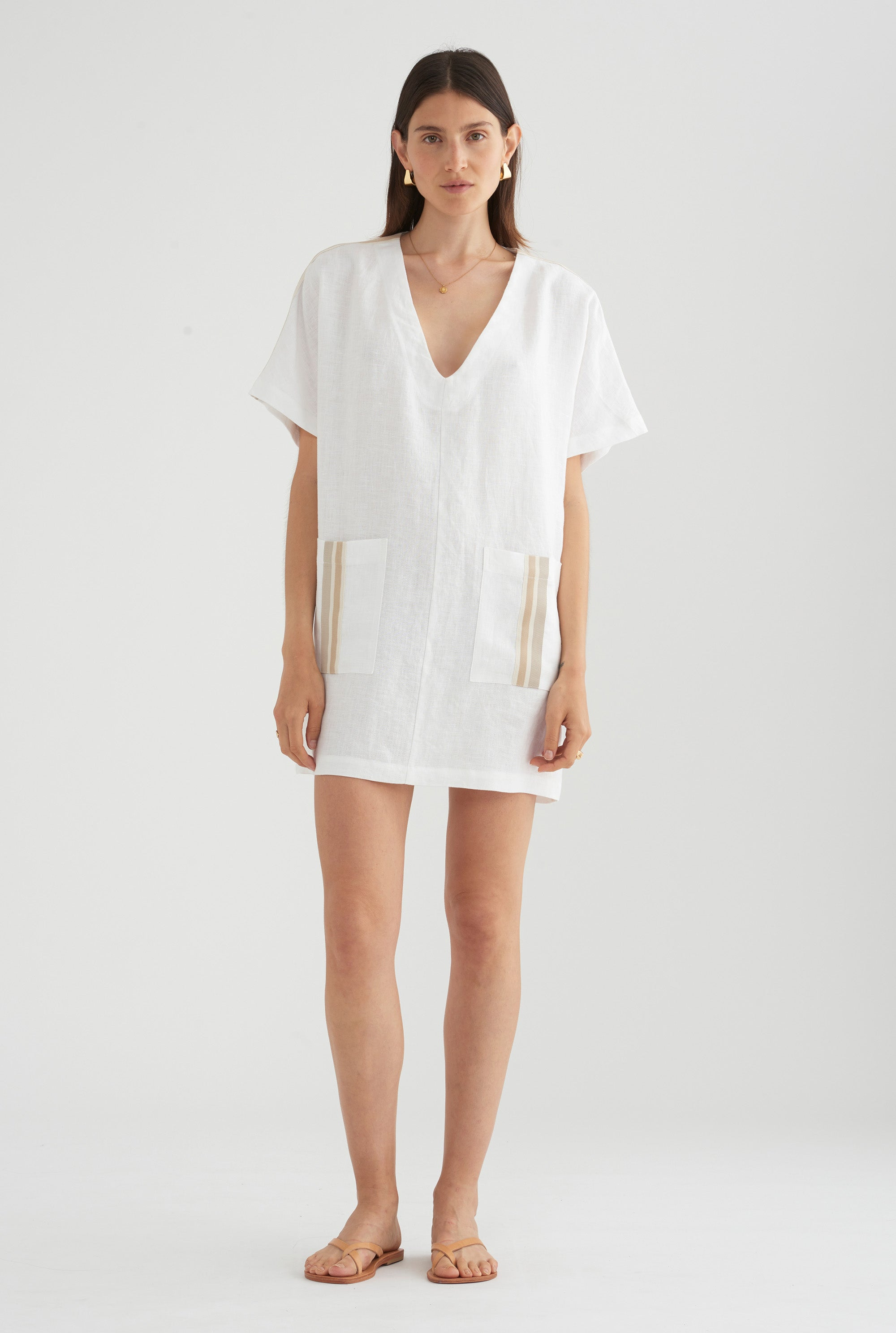 Linen Pop Over Dress - White