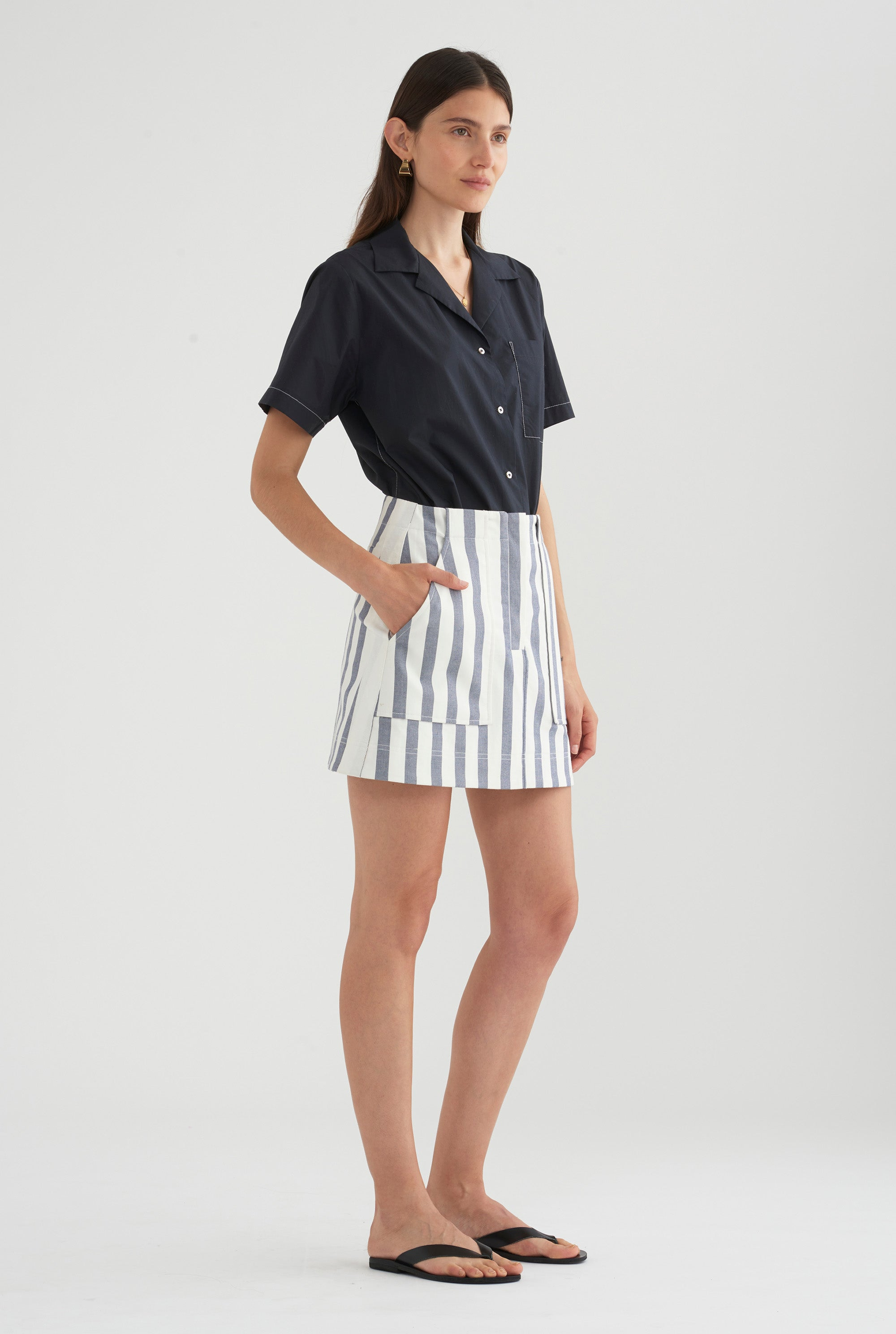Utility Skirt - Blue/White Stripe
