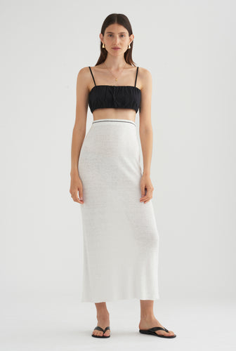 Rib Knitted Skirt - White/Black Stitch