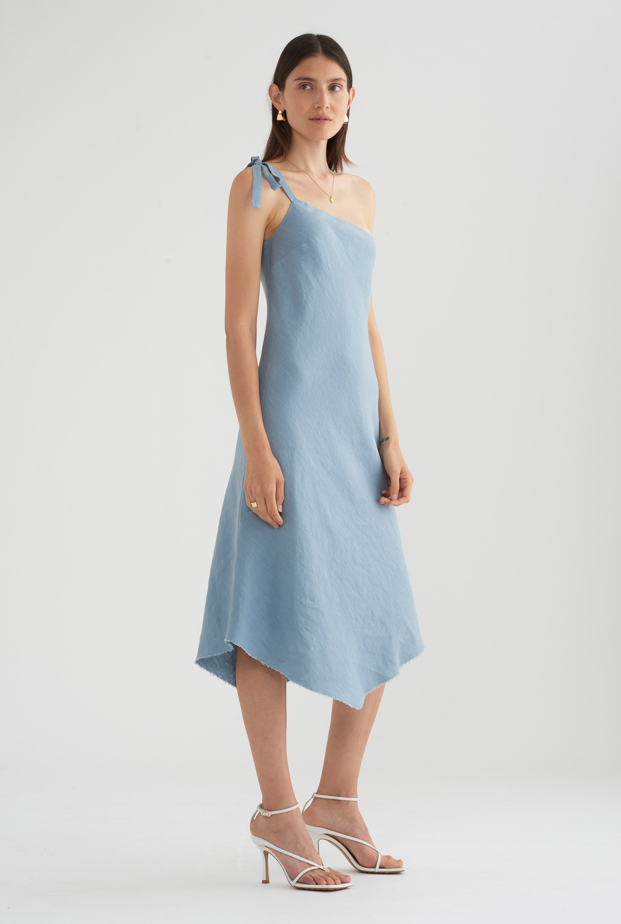 One Shoulder Tie Dress - Dusty Blue
