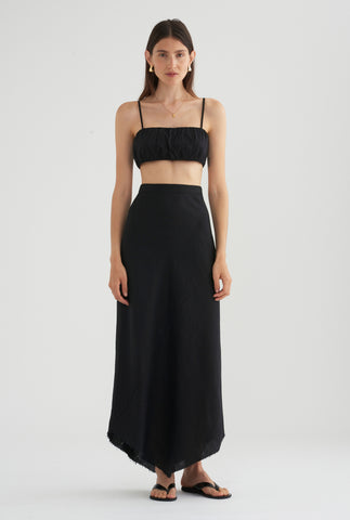 Rouched Tie Back Top - Black