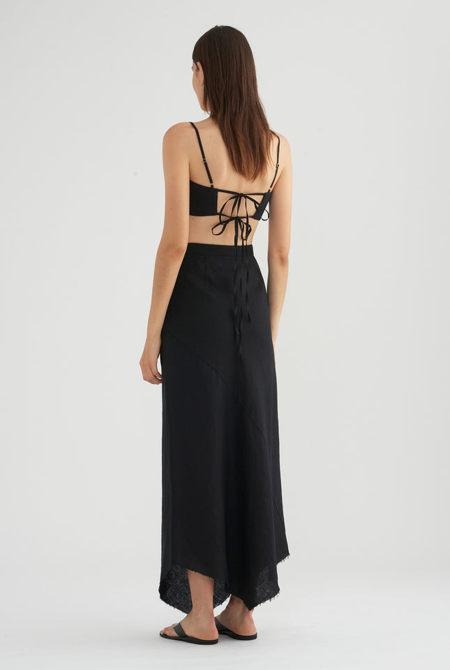 Fixed Waist Bias Skirt - Black