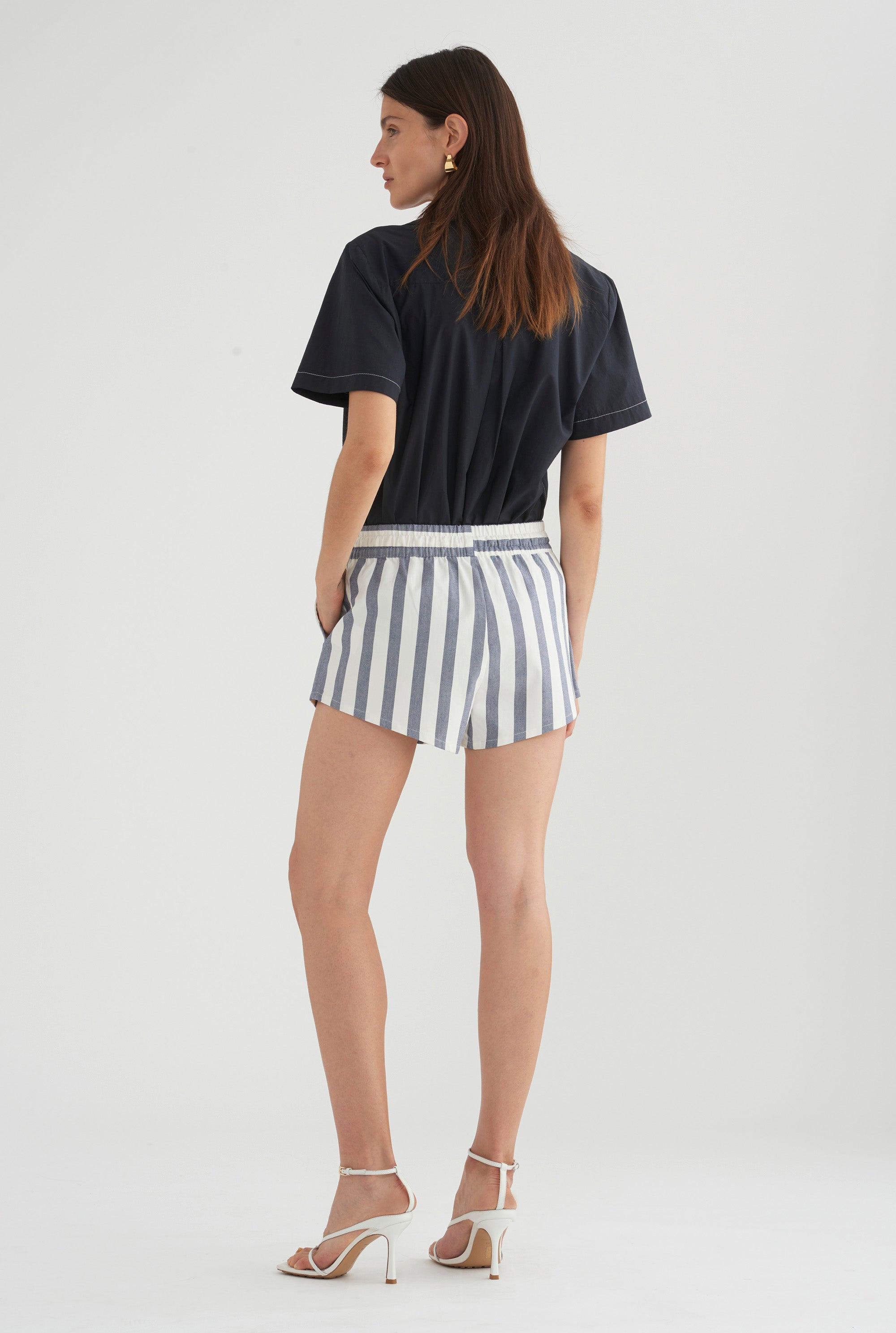 Womens Lounge Short - Blue/White Stripe