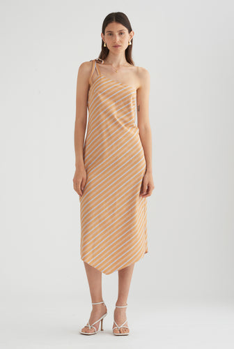 One Shoulder Tie Dress - Multi Stripe