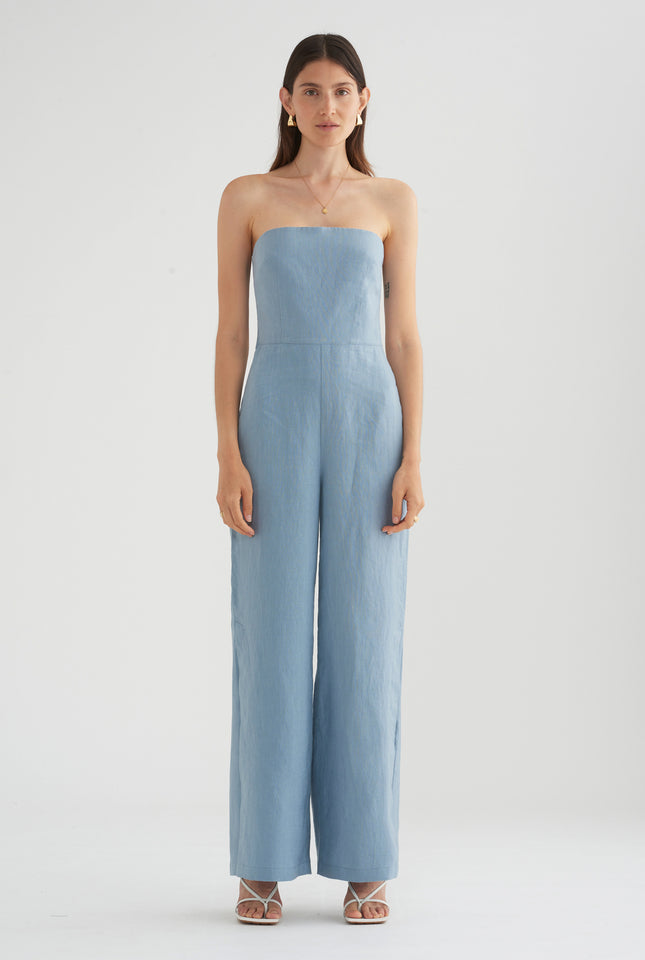 Tie Back Jumpsuit - Dusty Blue
