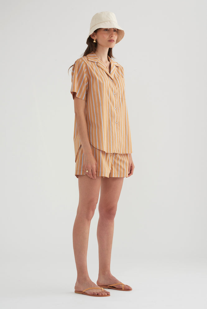 Poplin Camp Collar Shirt - Multi Stripe