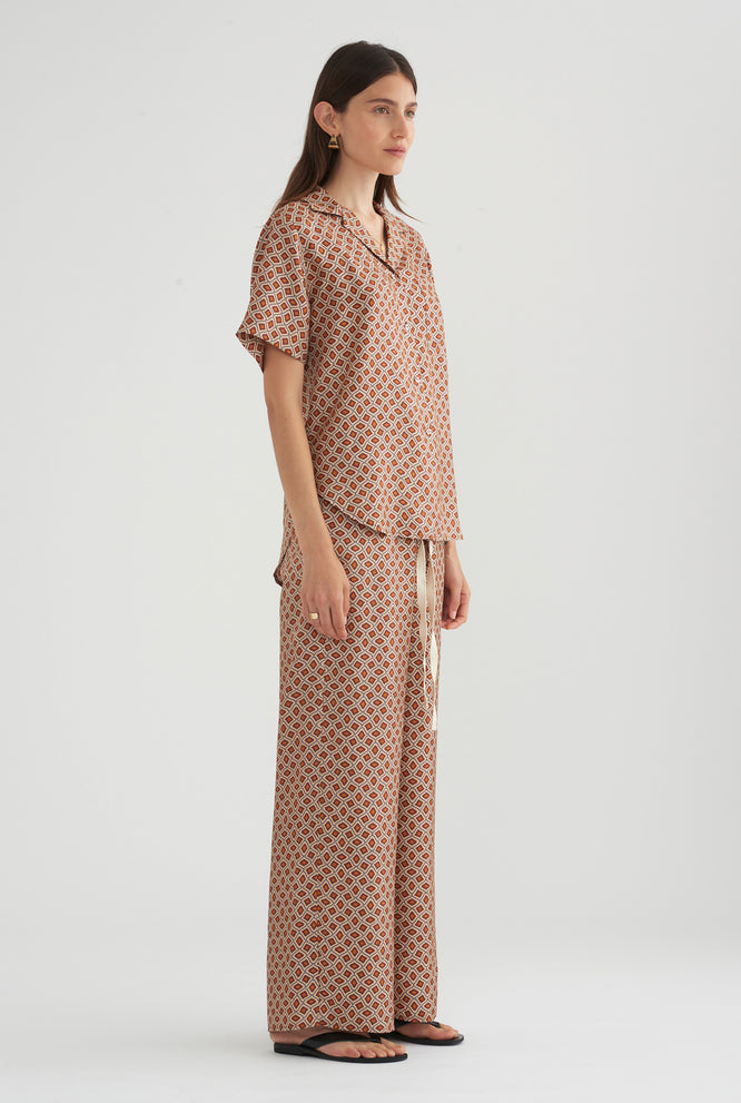 Camp Collar Silk Shirt - Geo Print