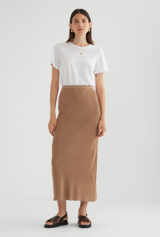Rib Knitted Skirt - Taupe/White Stitch