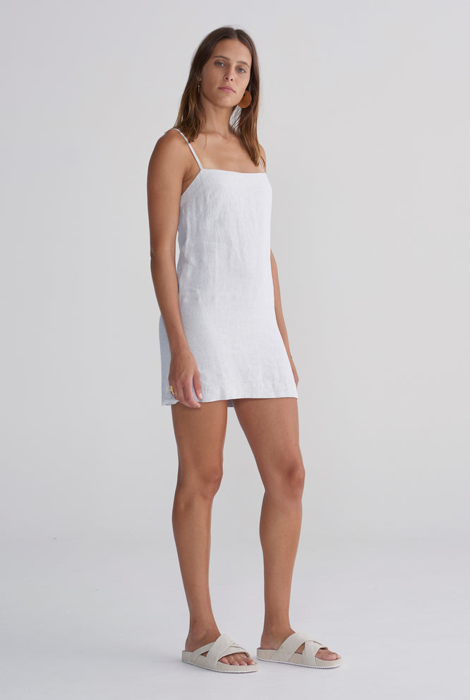 Lace Up Dress - White