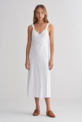 V Neck Bias Dress - White